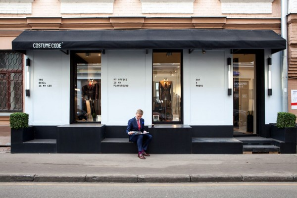 Costume Code storefront, a tailor shop that creates made-to-measure outfits for the fashion-savvy people.