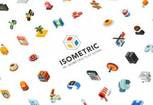 A download pack of 99 isometric flat icons.