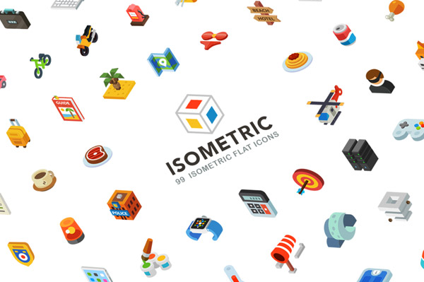 A download pack by Oleg Beresnev of 99 isometric flat icons.