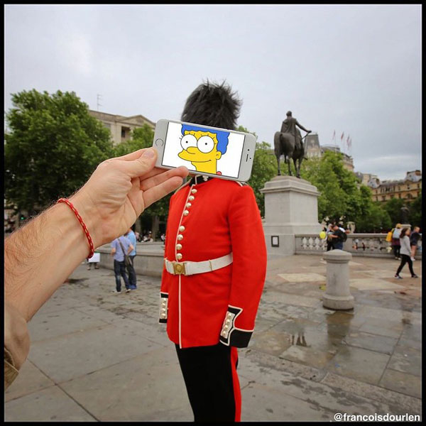 Marge Simpson as British Guard.