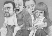 Personal drawing by Helena Frank from the illustration series Me and My family.