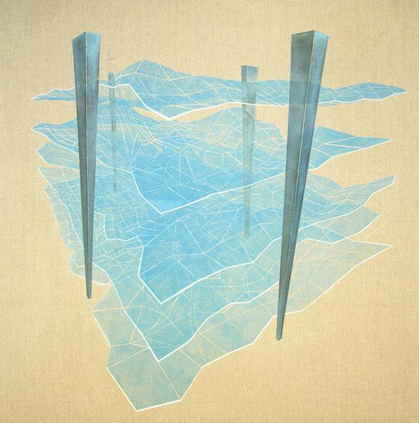 Rendering layers, (120x120cm Oil on cnavas, 2014)
