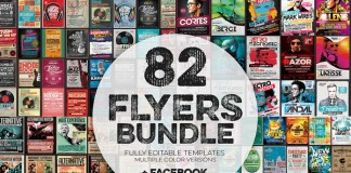 82 flyers bundle with fully editable templates in multiple color versions.