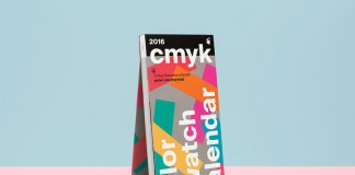 CMYK color swatch calendar 2016 created by German graphic and communication designer Peter von Freyhold.