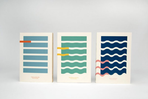 Hemingway and the Sea - minimalist book cover design by Kajsa Klaesén for three novels by Ernest Hemingway.