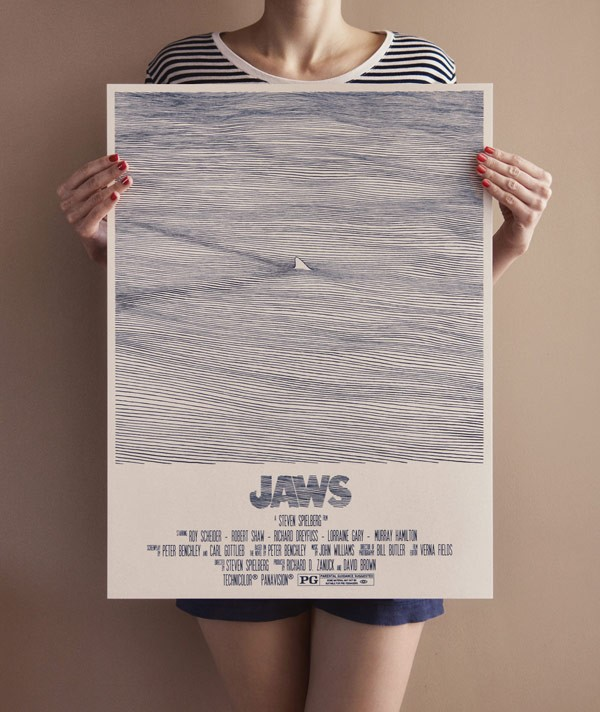 """Jaws"", an art tribute poster drawn by Bartosz Kosowski."