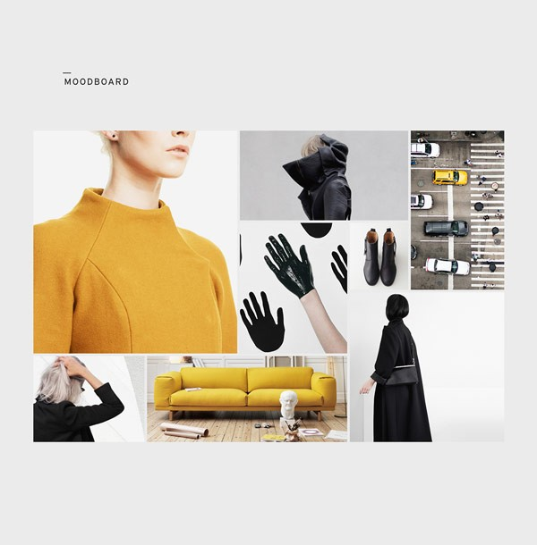 Moodboard – Art direction, branding, and graphic deign by Saxon Campbell for fashion label Rosalina Pong – New York.