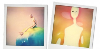 Polaroids with artworks by kyttenjanae, Novemto Komo, Friendejas, Glitch Artists Collective, and Dom Sebastian.