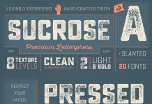 Sucrose, a new distressed font family designed by Ryan Martinson of the Yellow Design Studio.
