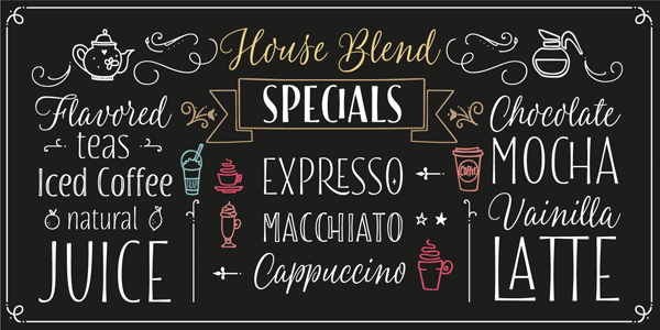 The Blend font collection includes a variety of diverse handmade typefaces that work great for signage and coffee shops.