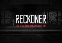 The Reckoner typeface, a free to use industrial sans serif font in two weights created by Alex Dale.