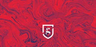 Brand mark on marbled background.