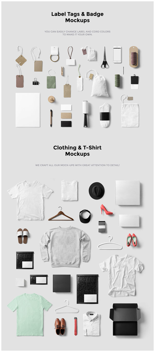 Label tags and badge mockups, clothing and t-shirt mockups.