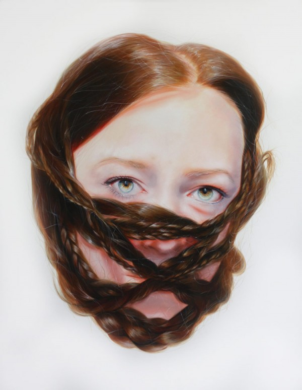 """Paintings from artist Roos van der Vliet's series titled """"Storytellers""""."""