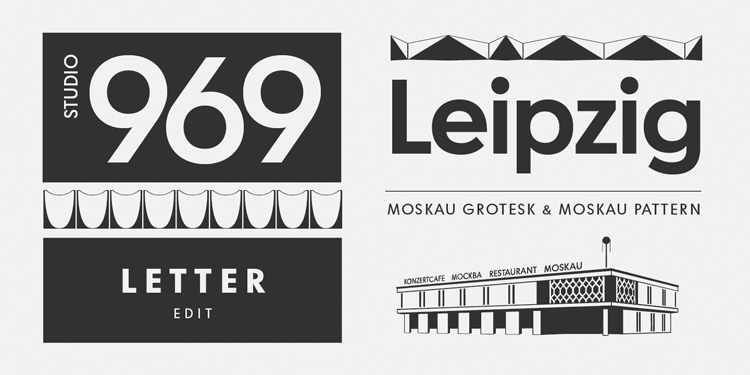 The typeface is based on the signage created for Café Moskau in Berlin by graphic artist Klaus Wittkugel in the beginning of the 1960s.