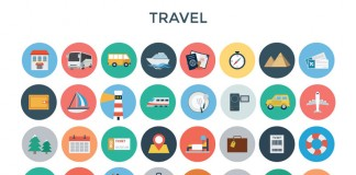 These travel icons are part of a huge bundle of icons from different themes.