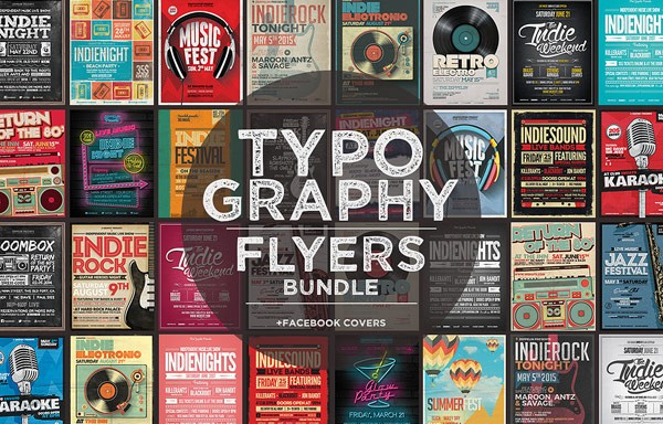 Typography flyers plus facebook covers.