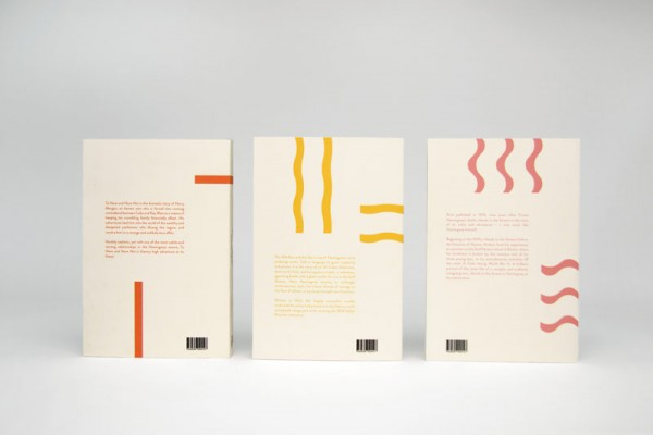 Backsides of the book covers.