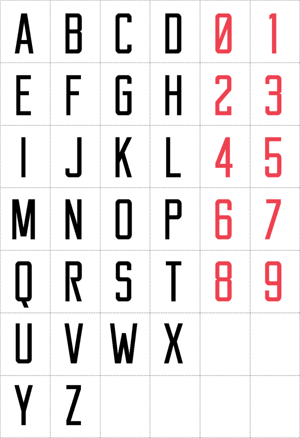 Basic Letters And Numbers Of The Free Reckoner Typeface