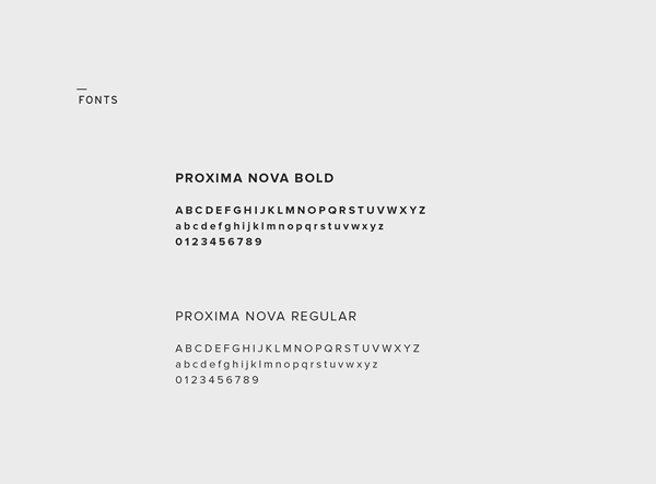 Corporate fonts: Proxima Nova Bold and Proxima Nova Regular.
