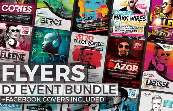 Flyers for DJ events with included Facebook cover images.