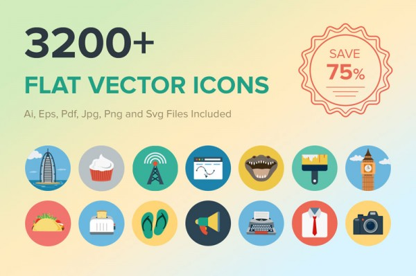 Over 3200 Flat Vector Icons