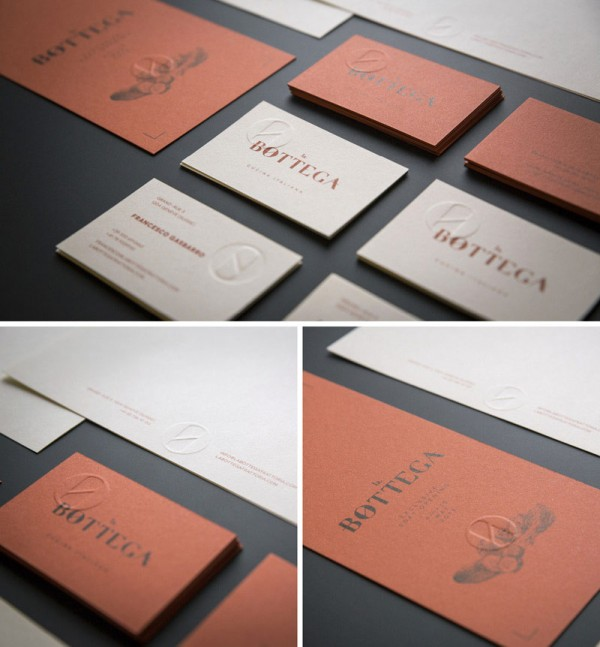 Some stationery materials and the business card set with embossed logo.