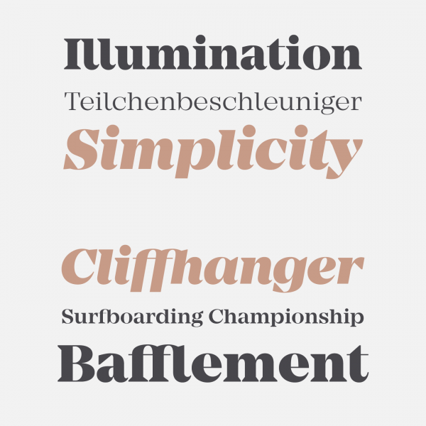 Some type samples of the Mirador typeface created by Rene Bieder.