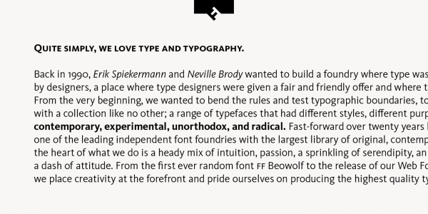 Text sample of this sans serif typeface from foundry FontFont.