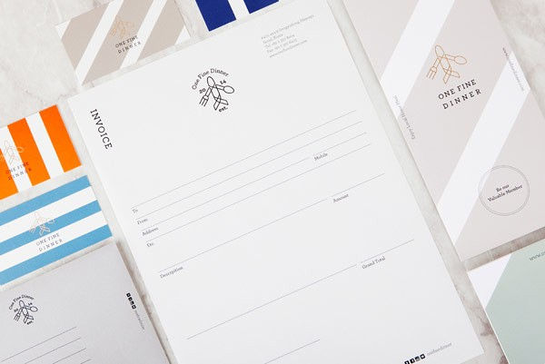 The stationery set including letterhead and business cards.