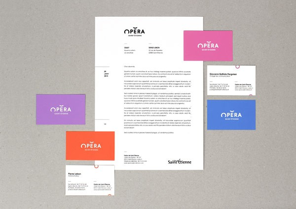 The stationery set including letterheads and business cards.