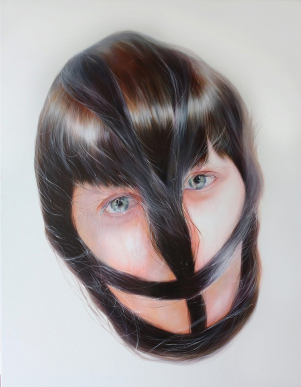 Work from a collection of hair-entrapped portraits.