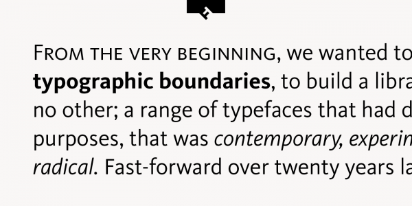 A more detailed and closer view of a text sample created with the FF Kievit typeface.