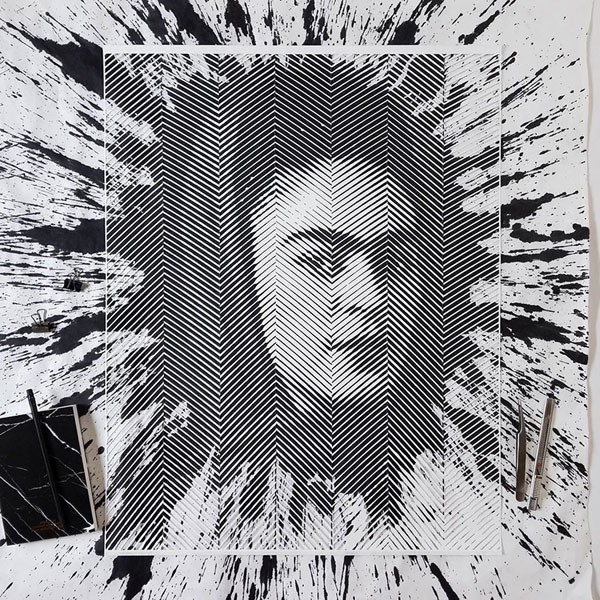 Frida Kahlo portait from a series of hand-carved paper cutouts by Yoo Hyun.