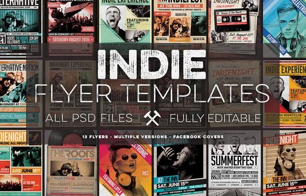 the indie flyer template includes 12 flyers in multiple versions