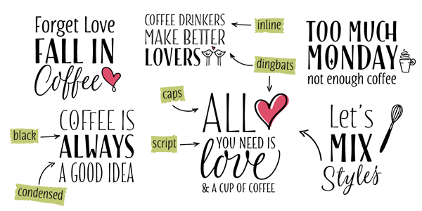 With this variety of hand drawn typefaces and different styles you can create stylish titles.