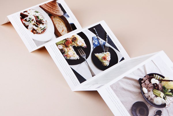 Leaflet with tasty food images and recipes of special dishes.