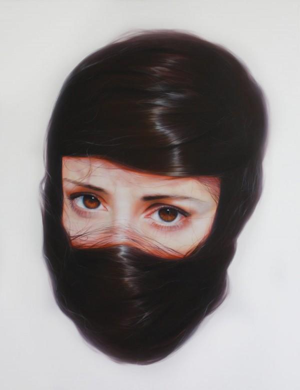 "Painting by Roos van der Vliet from a series of portraits called ""Storytellers""."