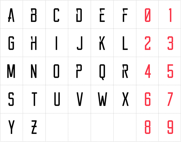 The regular character set with stylistic alternates.