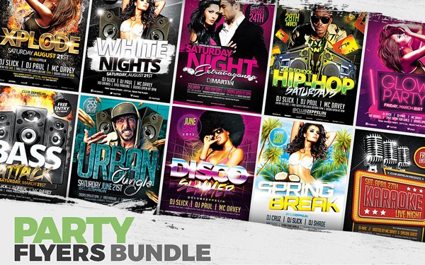 Amazing party flyers available as high quality and fully editable PSD files.