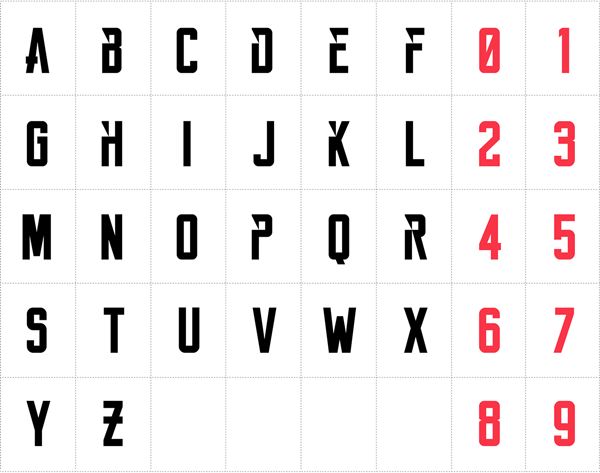The bold character set with stylistic alternates.
