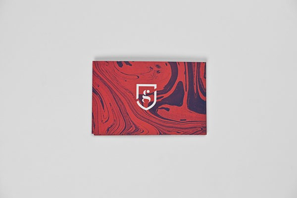 The marbled business card design.