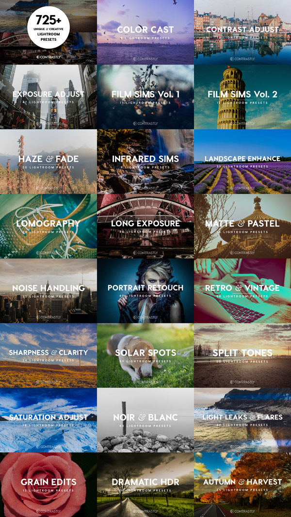 A unique and creative Lightroom workflow bundle with more than 725 presets for professional use.