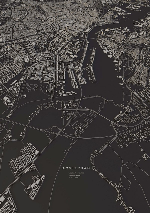 Amsterdam, 3D topography from a series of city layouts by Luis Dilger.