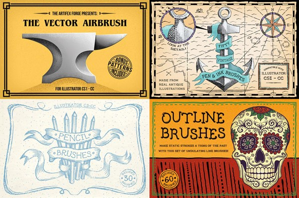 Artifex Forge presents the vector airbrush set, fifty vintage pen and ink brushes, pencil and outline brushes.