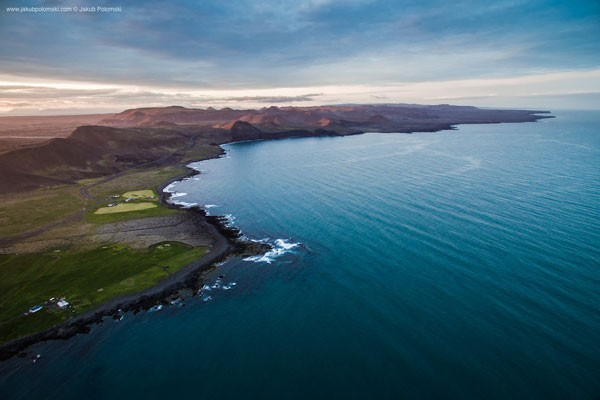 Grindavik – Iceland's coastline photographed from the sky.