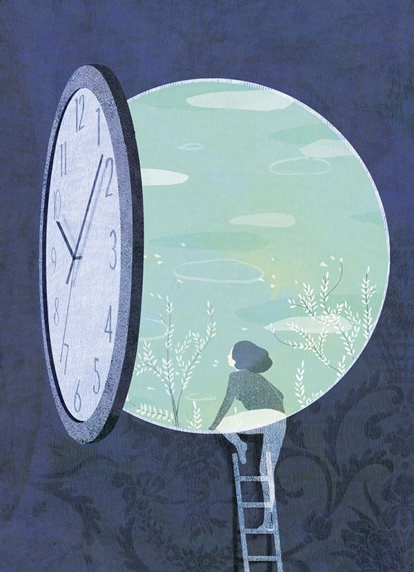"""Work from a series of illustrations created for an article called """"Inhabit the Time"""" in the French Magazine Panorama. The article is based on our busy lives and how can we keep enough time for spirituality or just to take a break."""
