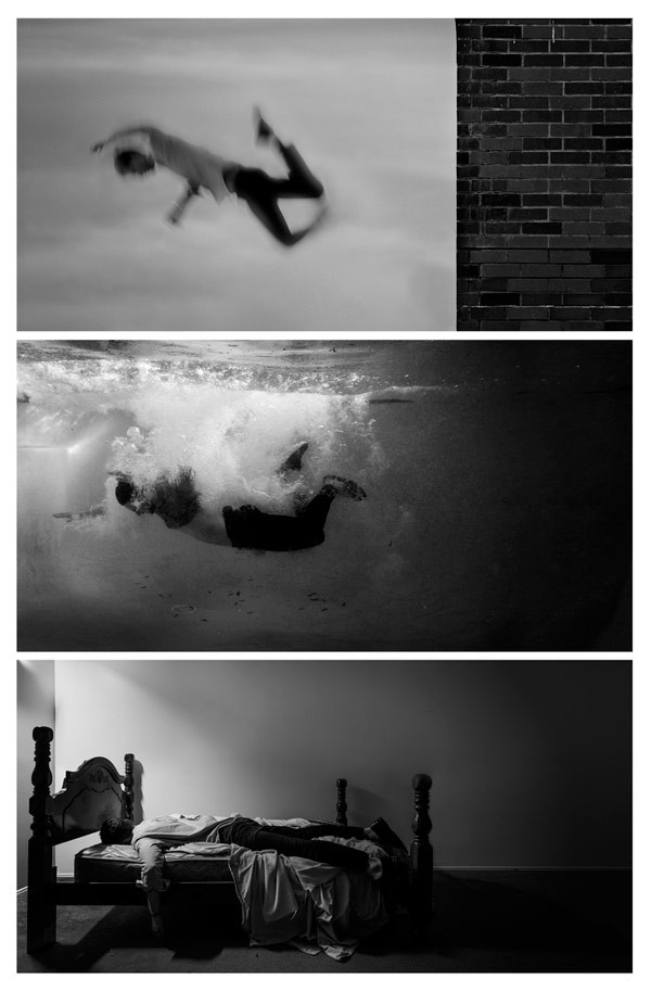 It was all just a dream. Triptych image series in simple black and white.