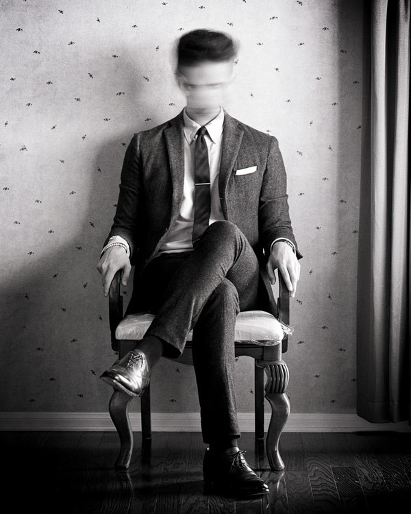 Just sit and wait. Black and white self-portrait by photographer Edward Honaker.