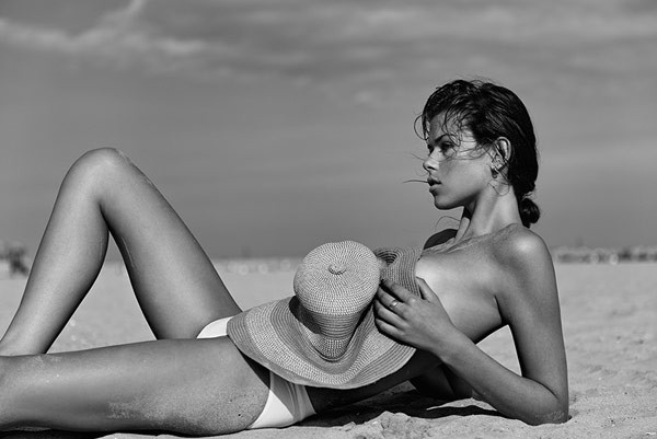 Model Georgia Fowler photographed at the beach.